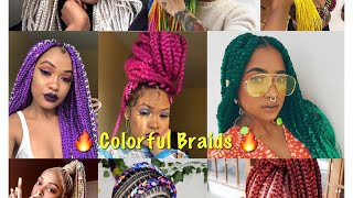Amazing 🔥Colorful Braid Ideas| Box Braids| Trendy Braid Styles