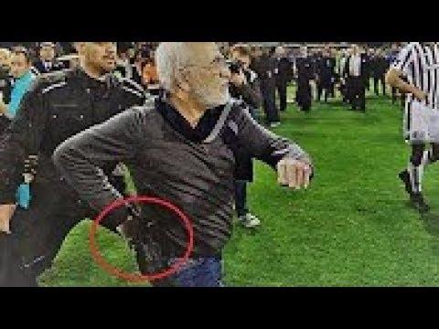 PAOK - AEK 11-03-2018. Ivan Savvidis Pitch Invasion with Gun