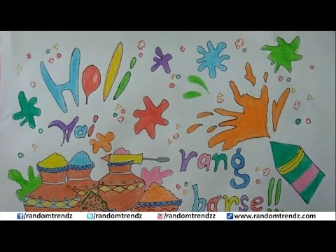 How To Draw Happy Holi Poster Holi Card For Kids Youtube