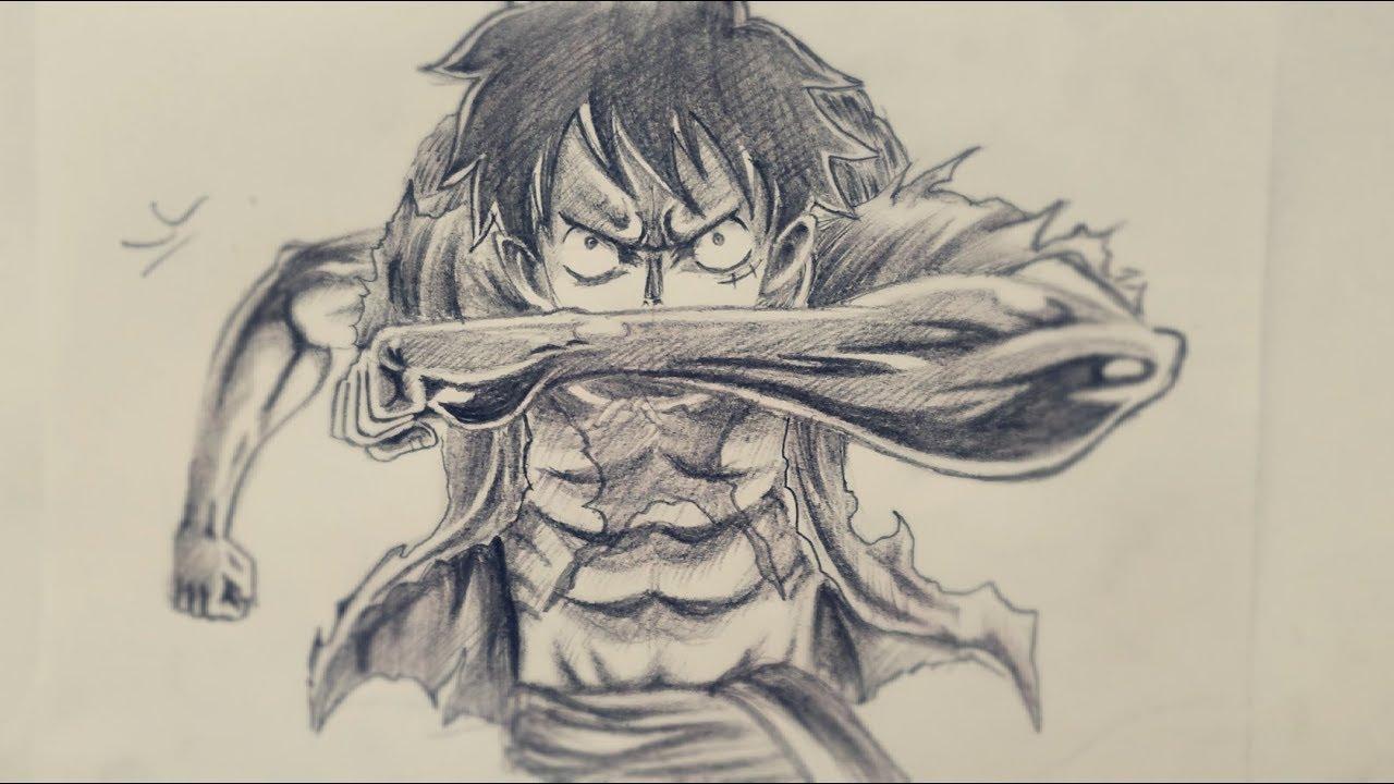 Học vẽ Luffy mũ rơm (Đảo hải tặc) ||| DRAWING STRAW HAT LUFFY (ONE PIECE), STEP BY STEP WITH PENCIL!