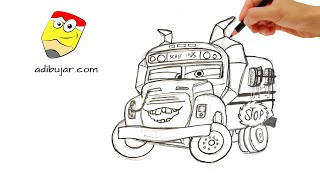 Cars 3: Cómo dibujar a Miss Fractura - Autobús escolar | How to draw Miss Fritter - School Bus