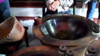 Drying tea leaves at Hangzhou tea farm