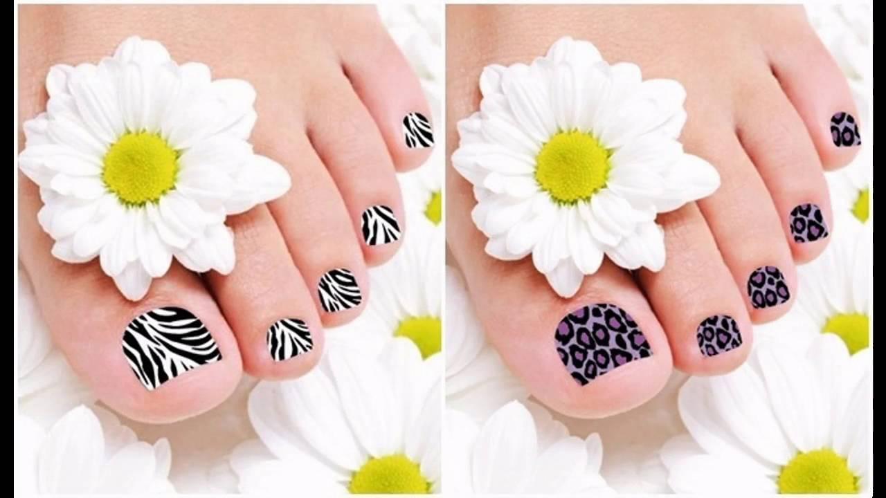 Modelos de Uñas decoradas a mano para pies - YouTube