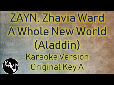 ZAYN, Zhavia Ward – A Whole New World Karaoke Lyrics Instrumental Cover Original Key A