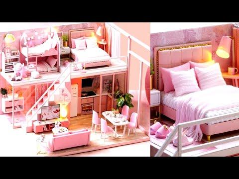 5 DIY Miniature Pink Dollhouse Rooms Barbie