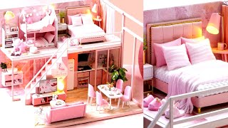 5 DIY Miniature Pink Dollhouse Rooms Barbie