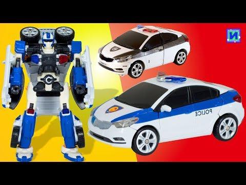 Тоботы трансформеры Тобот С полицейская машинка трансформируется в робота. Распаковка.