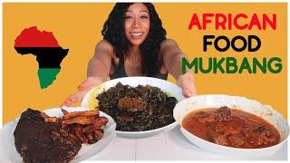 African Food Mukbang Challenge | EDIKANGIKONG SOUP, FUFU, GOAT STEW & SPICY TILAPIA