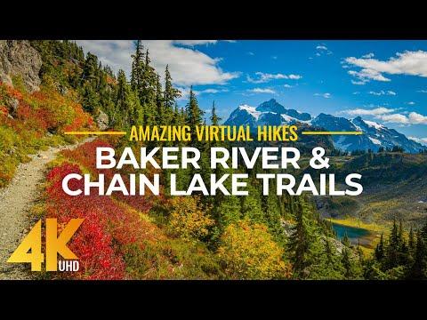 4K Virtual Hike Near River Through The Forest - Baker River Trail & Chain Lake Trail