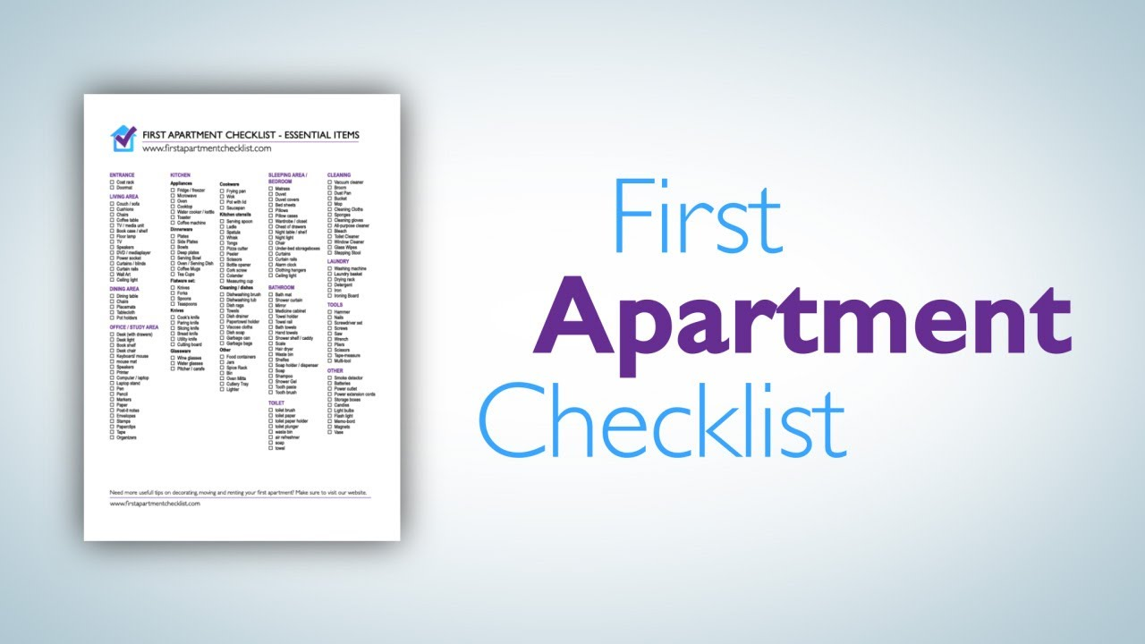 First Apartment Checklist - A printable PDF checklist - YouTube