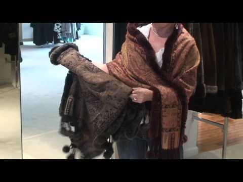 Day Furs Italian Cashmere Shawl with Rex Rabbit Trim