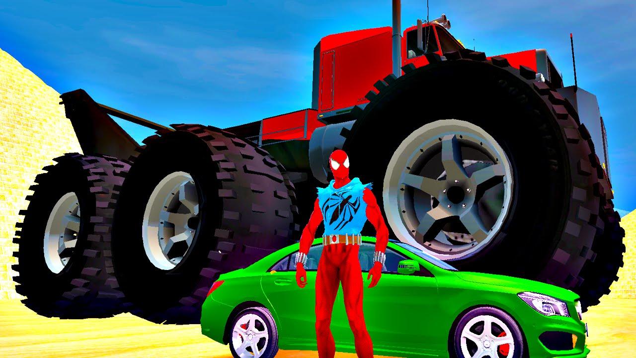 Biggest Monster Truck Smash Mercedes Benz Spiderman Superhero