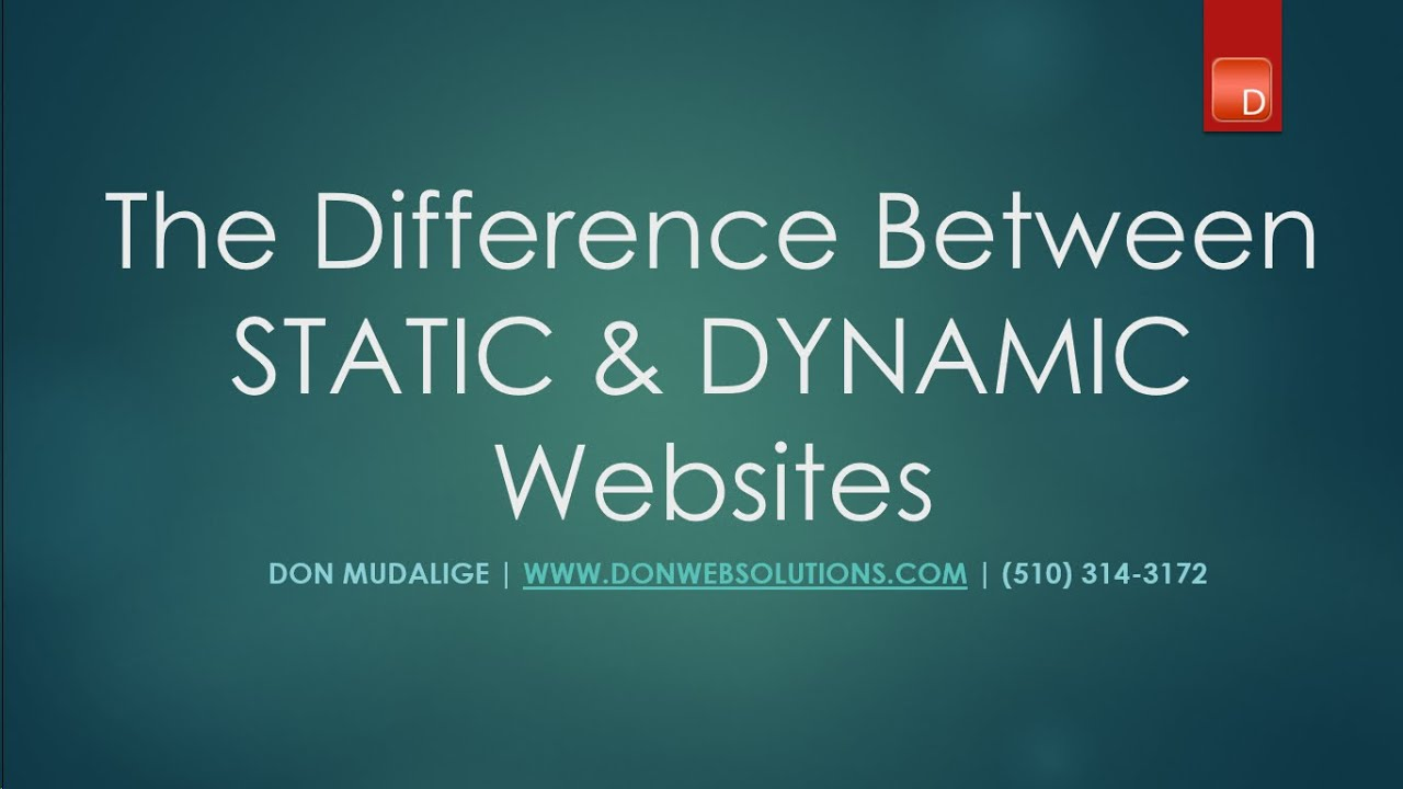 Difference Between A Static A Dynamic Website Tutorial With Visual Aids Youtube