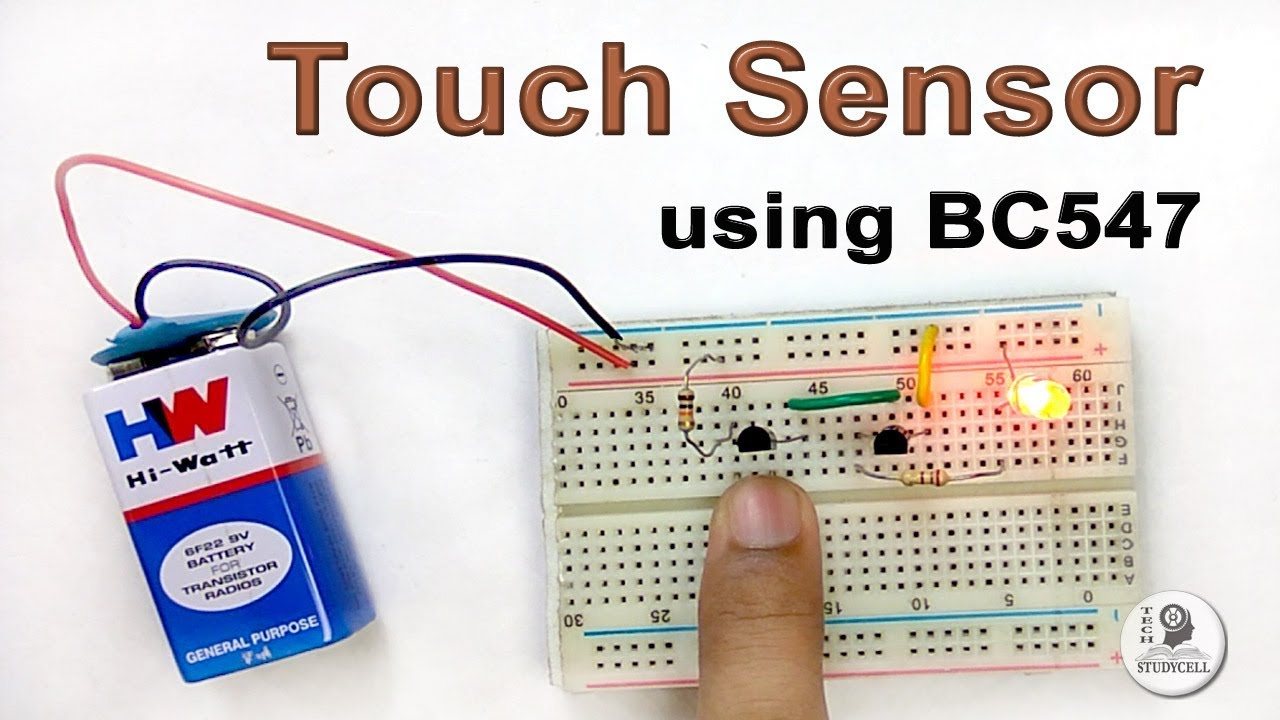 how to make a touch sensor using bc547 transistor on breadboard [ 1280 x 720 Pixel ]