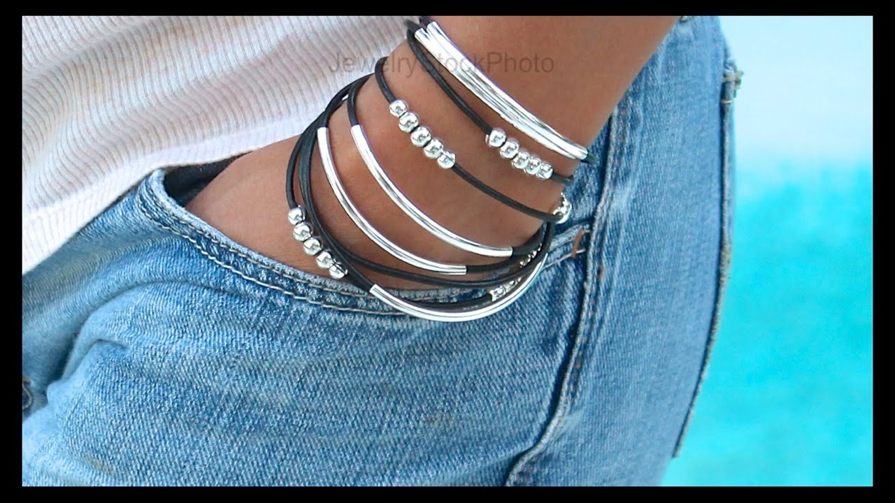 How To Make A Boho Leather Tube Bangle Wrap Bracelet Step By Step