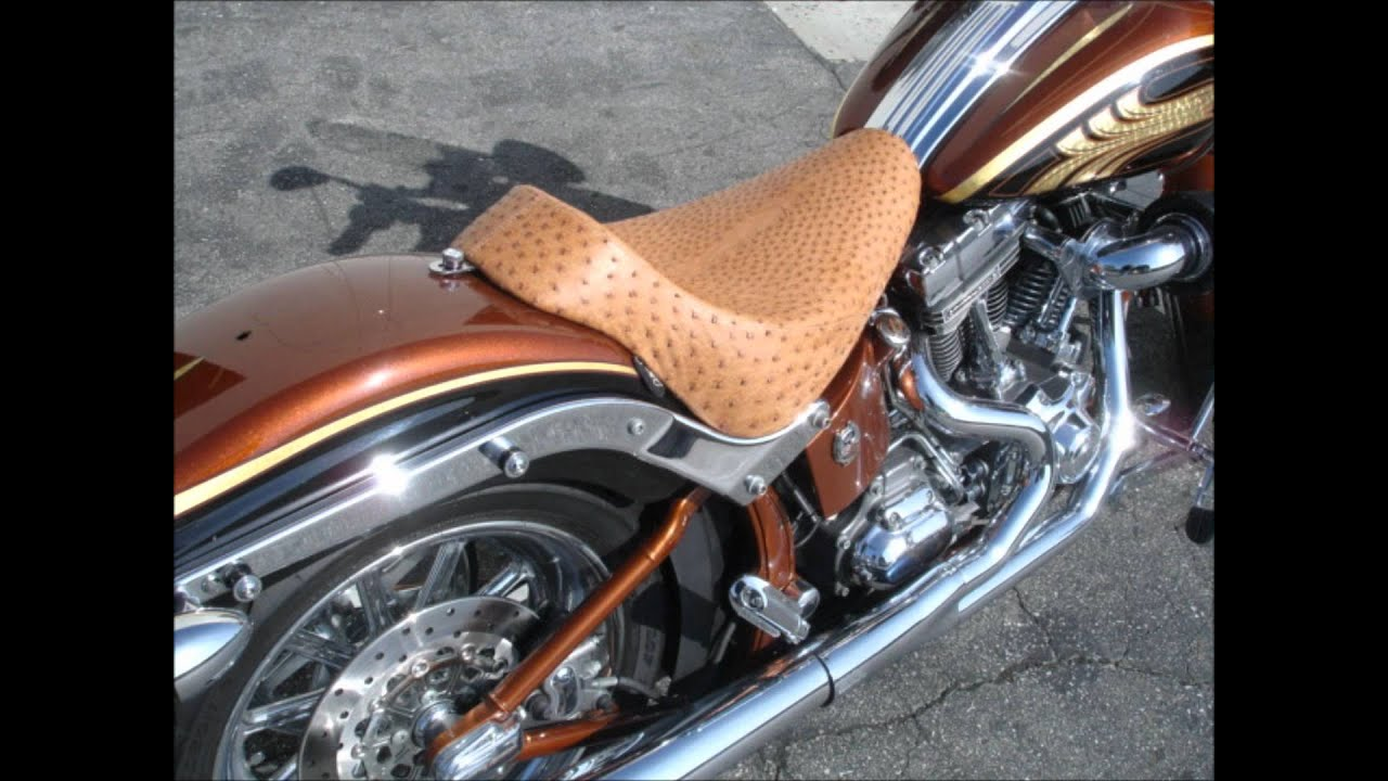 C C Motorcycle Seats Real Ostrich Softail Youtube