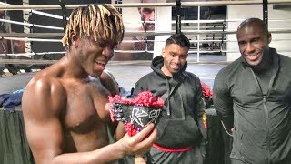 KSI sees his walkout ring attire for Logan Paul for the first time