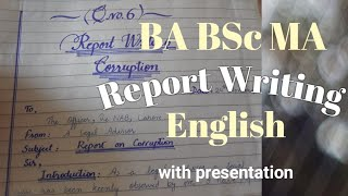 How to attemp Report writing with presentation BA BSc