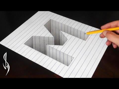 Drawing Capital Letter M Hole in Line Paper - 3D Trick Art