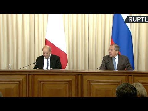 Conférence de presse conjointe de Jean-Yves Le Drian et Sergueï Lavrov à Moscou