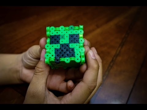 Minecraft Perler Bead Designs How To Make 3d Creeper Face Using Perler Beads