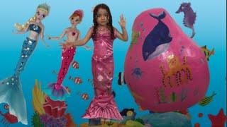 Frozen Elsa + Anna Giant Egg Surprise + Barbie + Ariel + Dora The Explorer Mermaids Dolls Toys Video