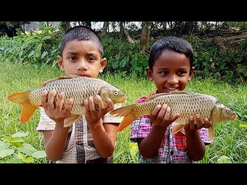 Kids Picnic | Two Common Carp/European Carp Fish Cutting & Cooking By Village Children