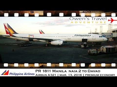 PHILIPPINE AIRLINES PR 1811 MANILA TO DAVAO AIRBUS A321 PREMIUM ECONOMY CLASS