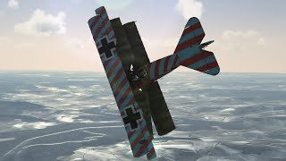 Deviating from the rest of the squadron, a Fokker dr.1 triplane pil...