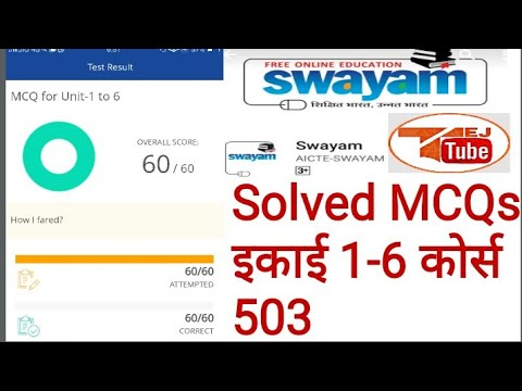 Swayam Solved MCQs Unit 1-6 Course 503 D.el.ed NIOS