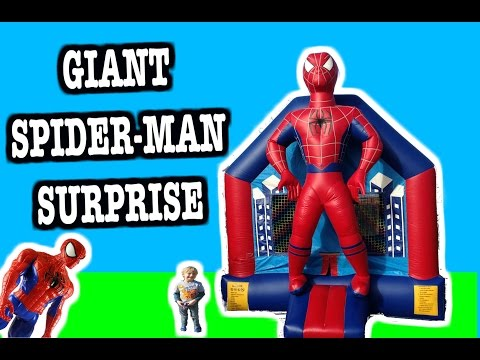 "Thumbnail: BIGGEST ""Spider-Man Surprise"" Bounce House with Spider-Man, Hulk and Batman Surprise Toys"