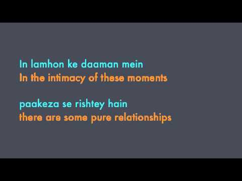 Jodhaa Akbar - In Lamhon Ke Daaman Mein Lyrics & Translation