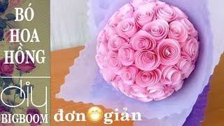 Hướng dẫn cách tự làm bó hoa Hồng bằng giấy tặng thầy cô nhân ngày 20/11 ❀ Diy BigBoom-VN