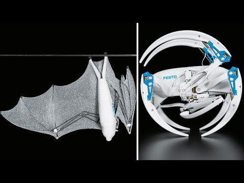 2 SuperCool NEW BIONIC ROBOTS With AI Technology FROM FESTO - BionicFlyingFox & BionicWheelBot