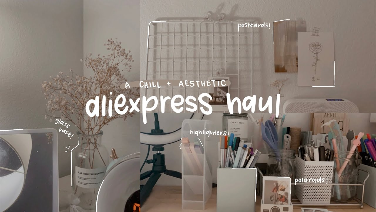 a chill and aesthetic aliexpress haul (stationery, accessories, decor)