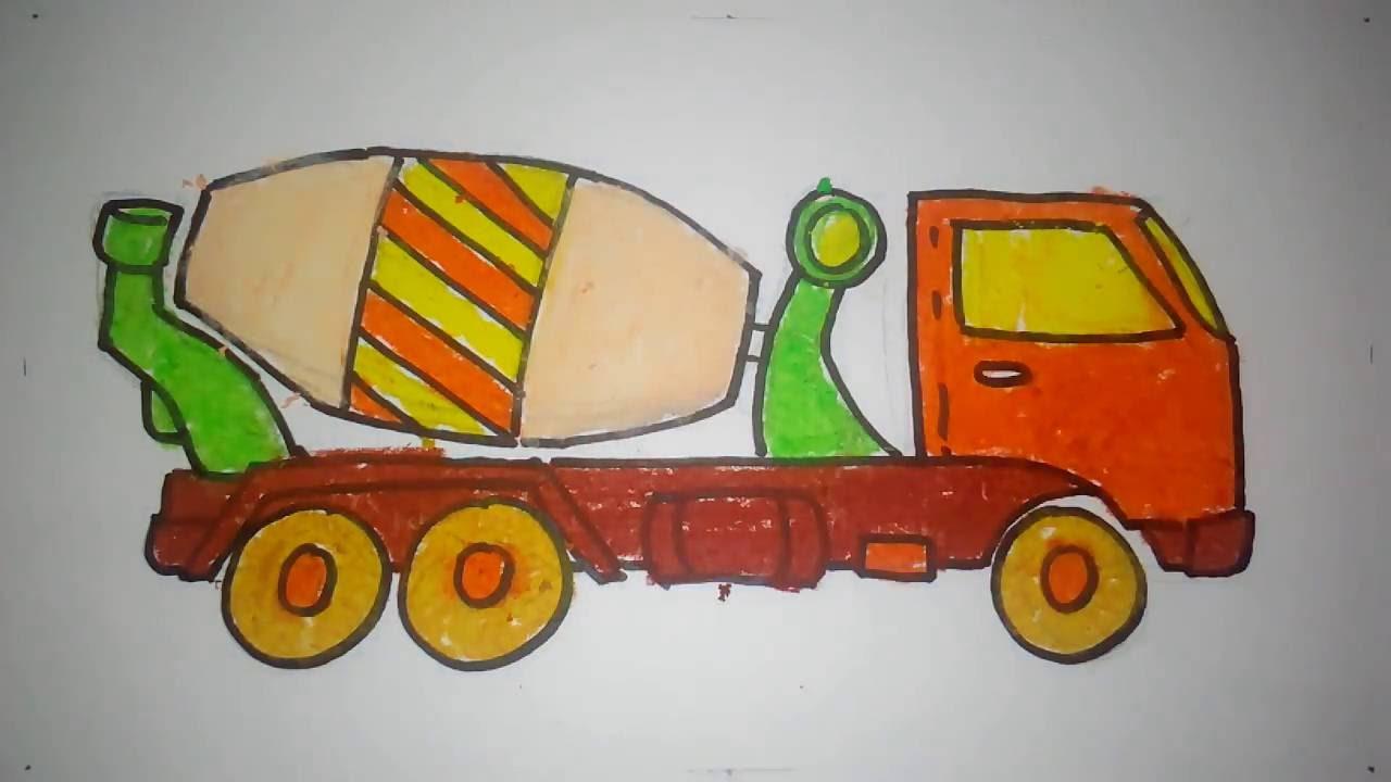 cara menggambar truk molen untuk anak TK dan SD