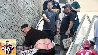 Man Wearing Thong Prank On The Escalator!