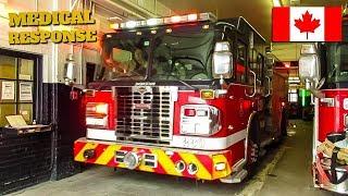 Montréal | Montréal Fire Service (SIM) Pumper 230 Responding From Quarters to Medical Call