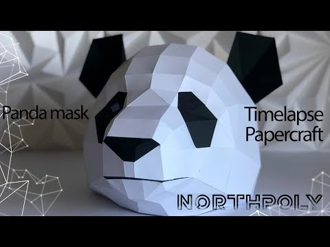 Timelapse. Low poly Panda. Papercraft.
