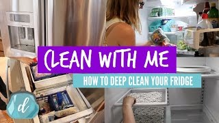 CLEANING ROUTINE 💙 How to DEEP CLEAN YOUR FRIDGE (Dollar Tree Organization!)