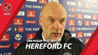 Video Uwe Rosler on Hereford FA Cup draw | Post Match download MP3, 3GP, MP4, WEBM, AVI, FLV April 2018
