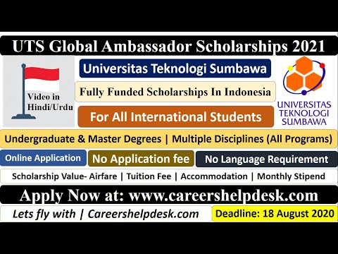 UTS Global Ambassador Scholarships 2021 in Indonesia | BS/MS | Fully Funded | Video in Hindi/Urdu