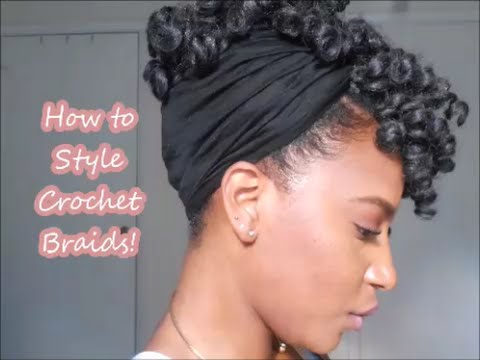Simple Updo With Crochet Braids Youtube