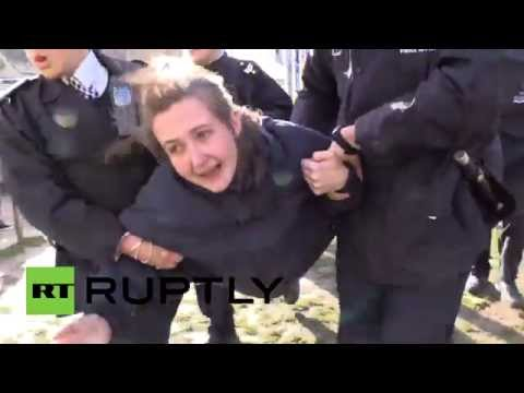 Police uproot crying Occupiers at London anti-corruption protest