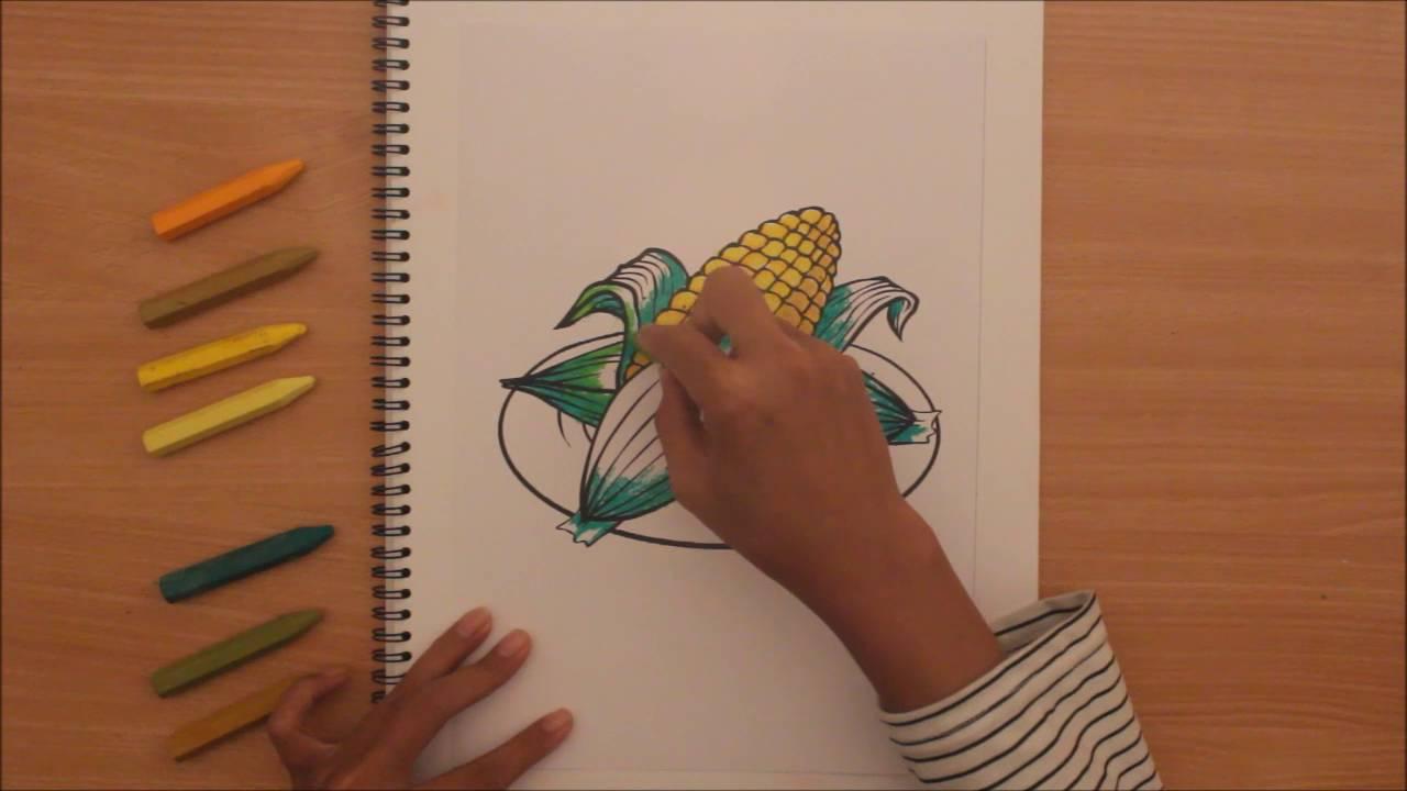 Mewarnai Sayuran Jagung Dengan Krayon Youtube