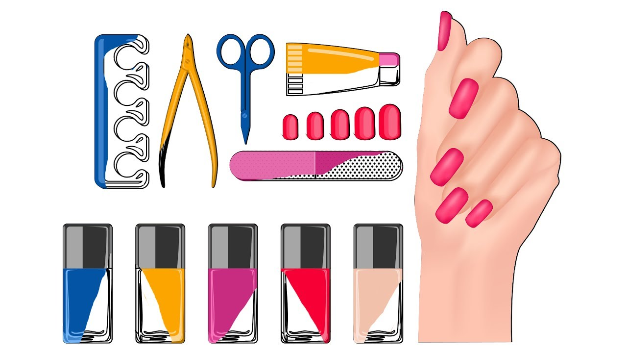 how to draw set for nail polish coloring pages manicure tool set