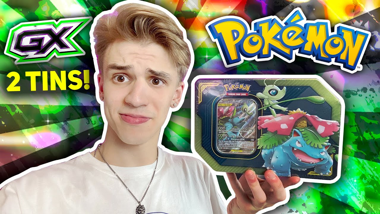 Opening TWO Celebi and Venusaur Pokemon GX TAG TEAM TINS!