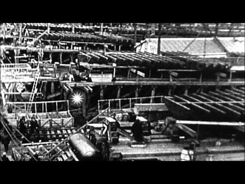 Wooden and steel ships being fabricated in US shipyard during World War One HD Stock Footage