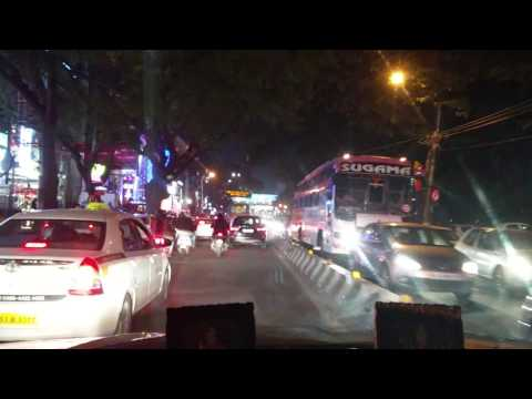 Driving down Indiranagar 100 ft Road New Years eve - timelapse