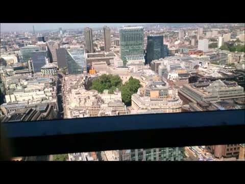 Dont look down! Awesome lift ride up and down the Heron Tower 600 ft (182m) 1080p